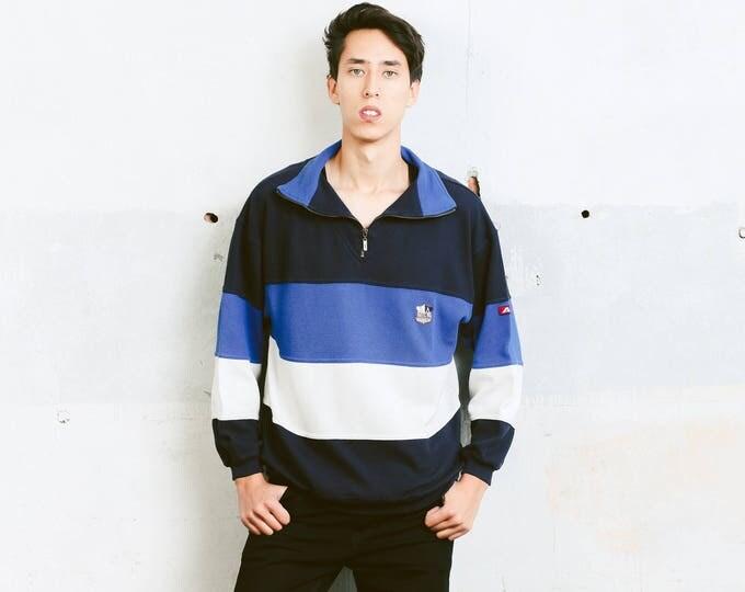 Vintage Rugby Shirt . Mens 90s Sweatshirt Unisex Pullover Striped 90s Top Men Retro Sweatshirt Hipster Boyfriend Gift . size Small S