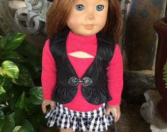 18 inch handmade doll clothes designed to fit the American girl doll- Red peek-a-boo top-Black colored vest