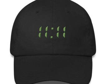 11:11 Dad Hat - Embroidered Hat - Synchronicity, Numerology, Awakening Code - Adjustable Cap - Black/Green