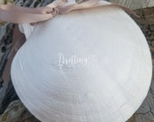 Custom Order for LaQuisha, Pearl Painted Scallop Shell Beach Ring Bearer Pillow or Ring Holder