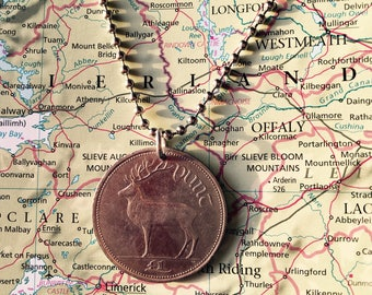 Ireland coin necklace - 4 different designs - made of original pre-euro coins from Ireland - travel - wanderlust - explore