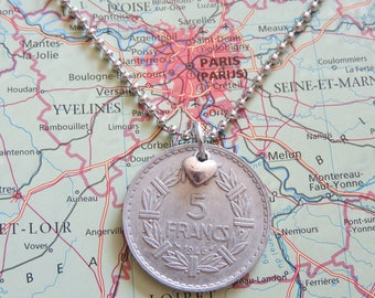 France 1945/1946/1947/1948/1949/1950 vintage 5 Franc coin necklace - wedding present - 71e - 69e - 68e birthday - birth year