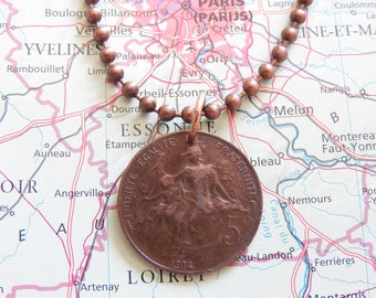 France 1900/1914 vintage 5 Centimes coin necklace - wedding present - 117th - 103th anniversary - birth year