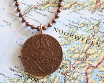Sweden 1941 vintage coin necklace - original - birth year - wedding present - 76th birthday - gift