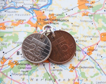 Netherlands coin pendant in birth year incl necklace 1970 - 1971 - 1972 - 1973 - 1974 - 1975 - 1976 - 1977 - 1978 - 1979 - 1980