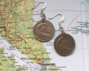 Singapore coin earrings - made of original coins from Singapore - swordfish - fish - sea jewelry