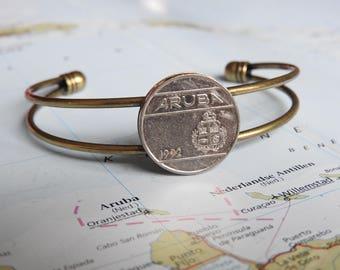 Aruba coin cuff bracelet - made of original coins - Lesser Antilles - Island gift