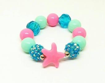 Girl's starfish mini gumball chunky bracelet