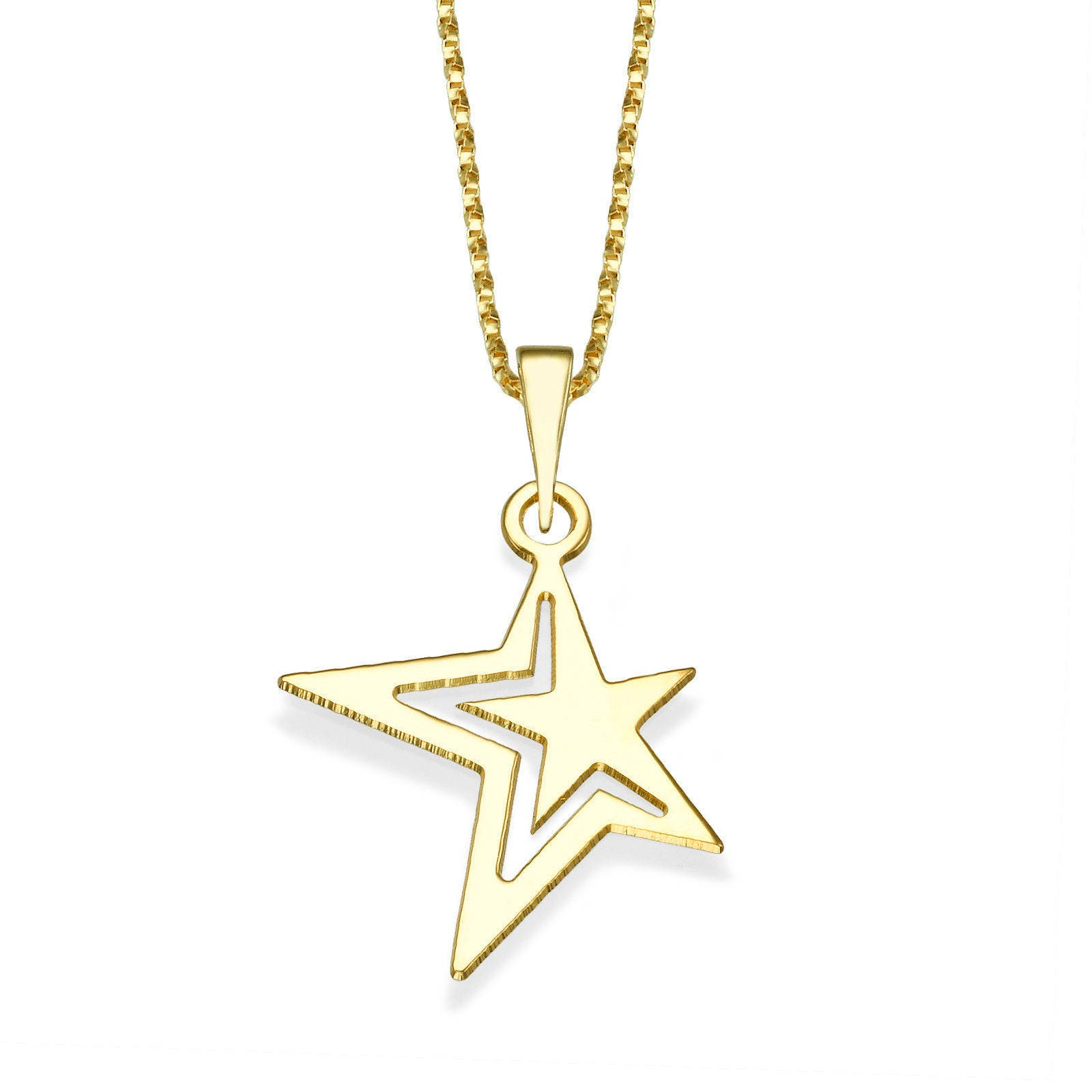 14K Yellow Gold Pendant Necklace, Northern Star Pendant Necklace ...