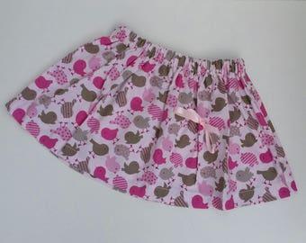 Skirt pattern pink cotton girl birds, bow, romantic style.