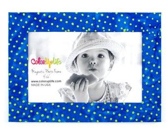 Magnetic Picture Frames - Blue and Lime Dot - 5x7 Frame - 4x6 Photo - Refrigerator Frame - Office Frame - Easel Frame - Modern Print