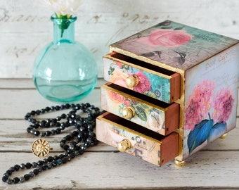 Victorian Floral Mini Chest of Drawers - Jewellery Box - Trinket Drawers - Shabby Chic - Mother's Day Gift - Christmas & Birthday Gift
