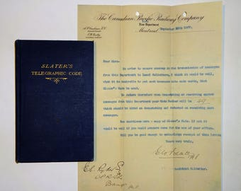 c. 1907 SLATER'S TELEGRAPHIC CODE with Canadian Pacific Railway Letter, Telegram Secrecy