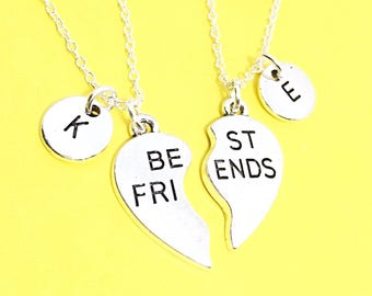 Sale,2 Best Friends set, Customized,Best friend Necklace,Pink Necklace,Pink Jewelry, Twin Necklaces, Bff Friendship Jewelry, Gift For Friend