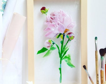 Fused glass pink peony - Fused glass wall art - Picture with peony