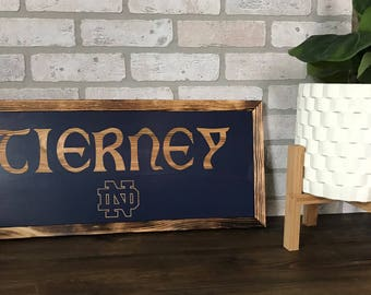 Custom Notre Dame name sign - ready to hang