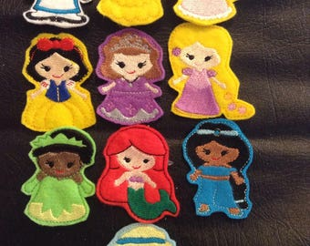 Princess inspired finger puppets.  Elsa, Ariel, Belle and many others to choose from.  If you buy 5 or more a castle case comes free