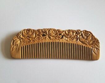 Pecan Wood Comb Beard Comb Hair Comb Carved Comb Decorative Roses Fine Tooth Comb