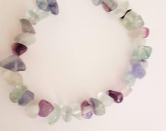 Rainbow Flourite Bracelet // Flourite nugget Bracelet // Gem Stone Bracelet for Her .