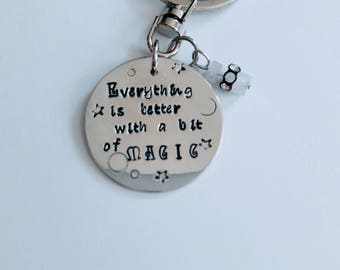Everything is better with Magic Keychain //Magical quote with rainbow moon stone rondelles