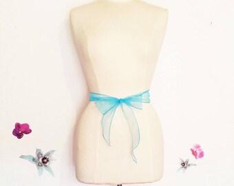 Turquoise blue organza headband or tie belt
