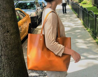 Soft Brown Italian Leather Women's Handbag/ Genuine Leather/ Raw Edged Tote and Shopper/tan leather tote