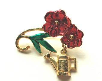 Pretty Flower Brooch with Watering Can