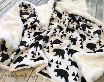 Bear Blanket- Minky Baby Blanket- Woodland Nursery- Rustic Nursery- Baby Shower Gift- Baby Boy Blanket- Baby Girl Blanket- Geo Bears