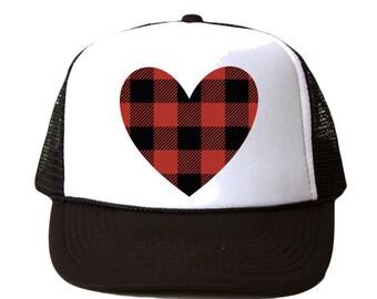 Heart Buffalo Plaid Hat, Buffalo Plaid Reindeer Trucker Hat, Christmas Trucker Hat, Buffalo Plaid Trucker Hat