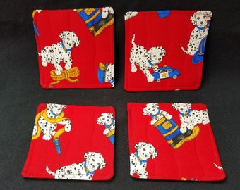 Set of 4 Reversible Quilted Beverage Coasters