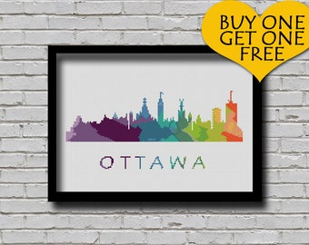 Cross Stitch Pattern Ottawa Ontario Canada Capital City Silhouette Watercolor Effect Rainbow Color Skyline xstitch DIY E Pattern