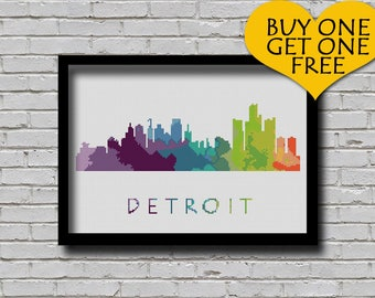 Cross Stitch Pattern Detroit Michigan Silhouette Watercolor Effect Decor Embroidery Modern Ornament Usa City Skyline Xstitch