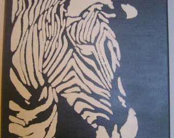 "Painting ""Zebra"" - black and white - painted"