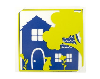 Map postcard paper cut - in the country