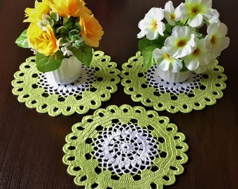 Set 3 PCs napkins Table mat Farmhouse Decor Round tablecloth Hand crocheted crocheted doily rustic decor coffee table doily crochet lace.