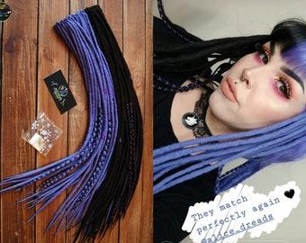 Set of wool DE dreads black purple lavender wrapped double ended dreadlocks by Alice Dreads instagram