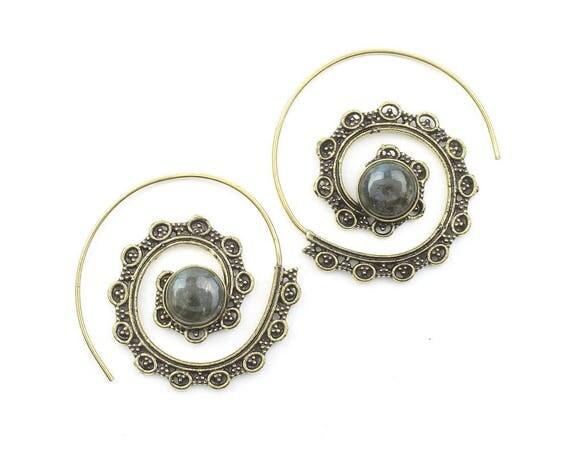 Labradorite Spiral Brass Earrings, Gemstone Jewelry, Tribal Brass Earrings, Festival Jewelry, Gypsy Earrings, Ethnic, Golden Spiral Earrings