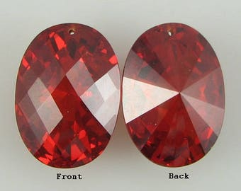 25mm faceted CZ cubic zirconia oval pendant red 4220