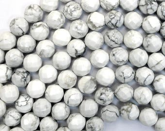 """10mm faceted white howlite round beads 15.5"""" strand 38046"""