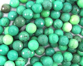 """12mm faceted green chrysoprase round beads 7.5"""" strand 32061"""