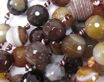 "12mm faceted agate round beads 7"" strand brown black 34350"