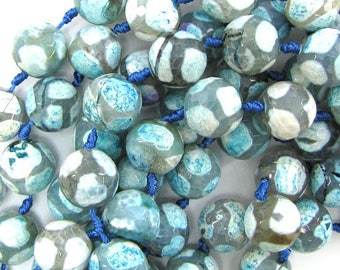 """14mm faceted agate round beads 7"""" strand light blue white 9 pcs 30167"""