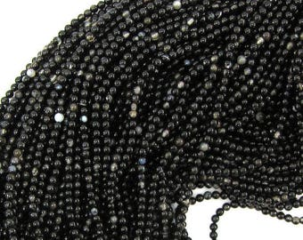 "2mm black sardonyx round beads 16"" strand 31975"