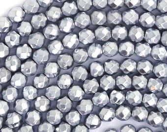 """4mm faceted silver hematite round beads 15.5"""" strand 36151"""