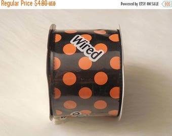 "SALE 2.5"" x 5yd -  Black and Orange Polka Dot Wired Ribbon, Halloween Ribbons, Black and Orange polka dot ribbon, ribbons, polka dot ribbon"