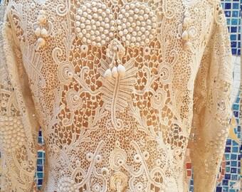 Victorian Irish Crochet 3D Antique Lace Equestrian Ascot Edwardian Jacket