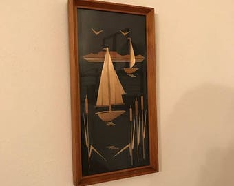 Vintage wall hanging picture - inlaid wood - mid century - wooden - home decor