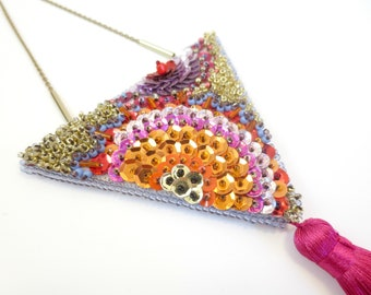 Large Triangle MAYAHUEL pendant necklace / MAGUEY pink & Red