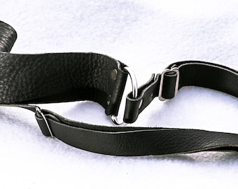 """Black Leather Camera Strap, 38"""" Long, 1.5"""" Wide, Canon, Nikon, Pentax, Sony, Olympus, or Any Other"""