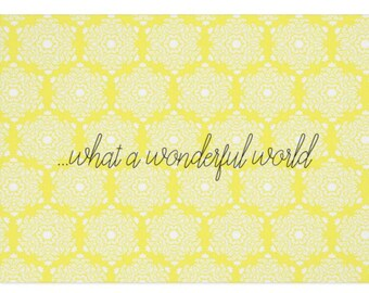 "Blank Greeting Card in Yellow Damask ""What A Wonderful World"""